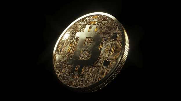 Bitcoin with black background