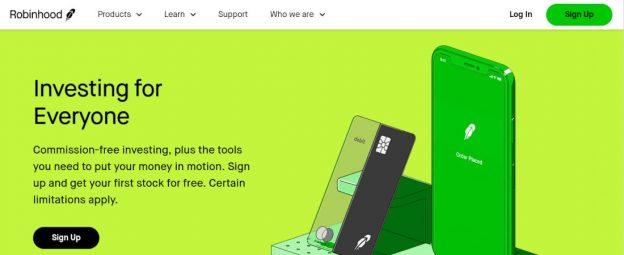 screenshot of the Robinhood website