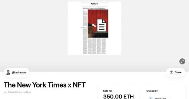 Token Crypto dari kolom New York Times dijual seharga $ 560.000.