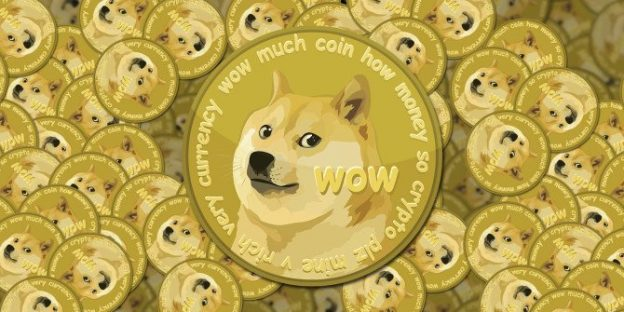 Dogecoin logo with several coins behind and why is Dogecoin going up?