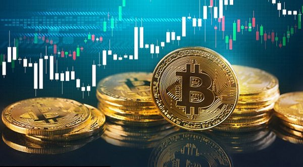 bitcoin above a trading chart