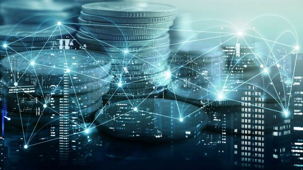 nodes displayed on a city background representing and answering the question of what is DeFi? list of decentralized exchanges nft genesis defi